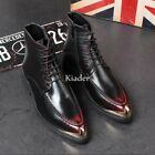 Europe Mens Pointy Toe Lace Up Brogue Ankle Boots Dress Formal Shoes High Top Sz