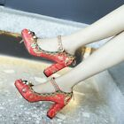 Womens Fashion Ankle Bukle strap block high heels floral decor shoes party lady