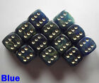 15mm D6 Dice Set 6 or 12 Gold Mist Blue Spot Spotted Dot Dotted Pipped Warhammer
