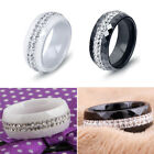 Black and White 2 Row Crystal Ceramic Ring Women Engagement Promise Wedding Band