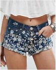 Women's Flowers Embroidered Denim Cutoff Ripped Distressed Summer Beach Short