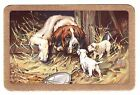 SUPERB  DOGS MUM AND PUPS GOLD BORDER Single Vintage Playing Card