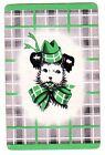 DECO DOGS PUP [GREEN] #AA1  (LINEN) Single Vintage Swap/Playing Card