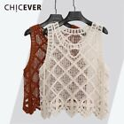 Women Ladies Girls Knitted Lace Sleeveless Hollow Vest Top T-Shirt Blouse