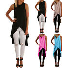 Fashion Women Split Long Top Side Slit Midi Tunic Sleeveles Plain Vest Dress H45