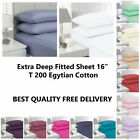 Extra Deep Fitted Sheet 16 T200 Egytian Cotton Inch 40cm easycare All Size