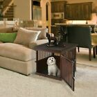 Richell Wooden Stylish End Table Dog Crate with Removable Sliding Tray