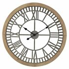 DecMode Contemporary Round Wood and Metal Analog Wall Clock