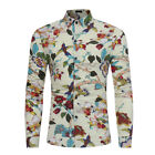 Men's Sexy Cute Big & Tall Size M-3XL Casual Floral & Birds Long Sleeve Shirt