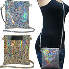 Holographic Crossbody Cell Phone Bag in Silver & Gold Metallic Hologram image