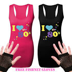 New Ladies I Love The 80s Racerback Fancy Dress Party Retro Vest FREE GLOVES