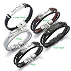 Personalised Mens Leather Bracelet Engraved ID Birthday Wedding Valentines Gift