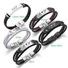 PERSONALISED Mens Leather Bracelet Engraved ID Birthday Wedding Graduation Gift