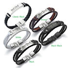 PERSONALISED Fathers Day Gift Mens Leather Bracelet Engraved ID Birthday Wedding