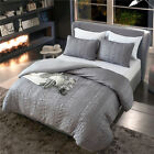 Luxury Bed Linen Gray Comforter Duvet Cover Set Wrinkled Bed Bedding Sets Queen