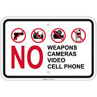 """No Weapons Cameras Video Cell Phone 8""""x12""""  aluminum Signs"""