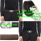 DOUBLE SIDED GLOSSY COWHIDE MAN'S BELT _ GANCIO DOUBLE BUCKLE  ADJUSTABLE SIZE