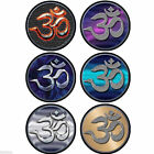 "Om Round Bumper Sticker Laminated 4"" Vinyl Decal Yoga Chakra"