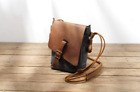 Waxed Canvas Shoulder Bag. Leather and Canvas Bag.Water Resistant Messenger Bag