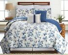 5 piece blue leaves reversible oversized quilt