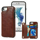 Leather Slim Wallet Credit Card Slot Stand Back Case for iPhone X 6 7 8 / Plus