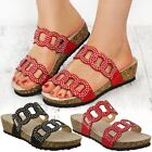Womens Ladies Low Wedge Comfort Cushioned Sandals Diamante Wedding Party Shoes