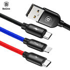 Baseus 3 in 1 3.5A USB Cable For iPhone X 8 7 Charging Charger Micro USB Cable