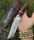 VG10 DAMASCUS SURVIVAL OUTDOOR CAMPING HUNTING KNIFE FIXED BLADE W/ SHEATH WOOD
