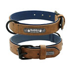 Soft Leather Personalized Dog Collar ID Tag Engraved for Small Medium Large Dogs