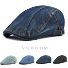 100% Cotton Denim Gatsby Cap Mens Ivy Hat Golf Driving Summer Sun Flat Cabbie 3