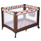 Newborn Baby Playpen Bassine Play Yard Pen Travel Portable Folding Wheels Girl