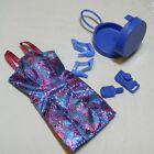 BARIBE DOLL MINI FOIL DRESS BLUE PINK DESIGN PRINT PURSE & SHOES