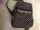"VERA BRADKEY Zip Purse Small Backpack ""Mimi"" black, floral retired pattern EUC"