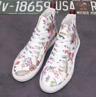 Mens Printed New Floral High Top Ankle Boots Lace Up Sport Athletic Casual Shoes