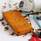 Mandala Kate Carved Women's Genuine Leather Wallet Card Phone Zipper Brown GIFT