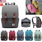 Girl Women/Men Canvas Leather Travel Backpack Satchel Rucksack Laptop School Bag