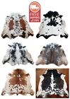 NEW LARGE 100 COWHIDE LEATHER RUGS TRICOLOR COW HIDE SKIN CARPET AREA 21-35SQFT