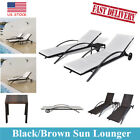 outdoor pool lounge chairs - Patio Outdoor Poly Rattan Pool Sun Lounger Set Table Garden Sunbed Chaise Lounge