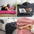 EP_ Large Handmade Chunky Knitted Blanket Thick Line Yarn Throw Home Decor Cleve image