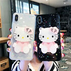 Lovely For iPhone X 8 7 Plus Cute Hello Kitty Case KT Rotating Mirror Back Cover