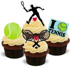 TENNIS MIX MALE - 12 Edible Stand Up Premium Wafer Cake Toppers