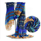 Women Warm Ethnic Bohemia Printed Chiffon Square Scarf Shawl Wraps Beach Capes