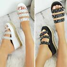 gold flatforms - Womens Ladies Flatforms Sandals Espadrilles Embellished Stud Jewel Wedges Size