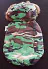 "DOG COAT - GREEN CAMOUFLAGE PARKA JACKET - SIZES 8"" BACK LENGTH"