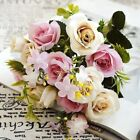 13Heads Artificial Flower Rose Fake Bridal Silk Bunch Wedding Party Home Decor