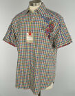 ROBERT GRAHAM Blue Red Lime PLAID Embroidered IPENEMA SS Cotton Shirt LARGE NWT