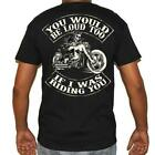 T Shirt Tattoo Skull Motorcycle no Harley pistons too loud Biker Rock vintage image