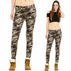 New Womens Low Rise Slim Skinny Stretch Army Military Camouflage Trousers Pants