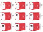 10X RED USB Home Wall Charger AC Adapter Plug fit Phone 5 6 6S Plus Samsung