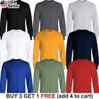 Basic Cotton T-Shirt Long Sleeve Plain Crew Neck Solid Men Youth Blank Color image